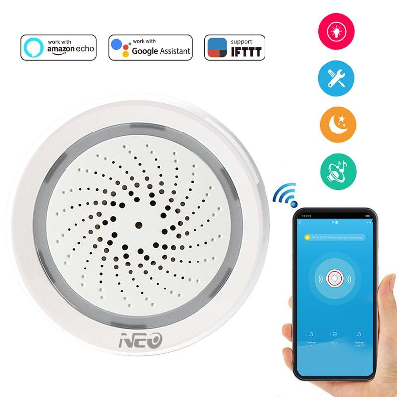 NEO Coolcam Wifi Siren Alarm Sensor And App Notification Alerts,No Hub Required,Plug And Play,Compatiab Alexa Echo Google Home