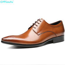 Luxury Genuine Leather Men Shoes Fashion Flats Pointed Toe Comfortable Office Dress Oxford Formal