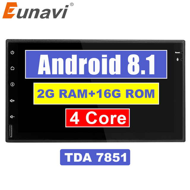 Eunavi 7'' 2 din TDA7851 Android 8.1 universal Car Radio Audio Stereo Head Unit GPS Navigation 1024*600 HD black body wifi bt