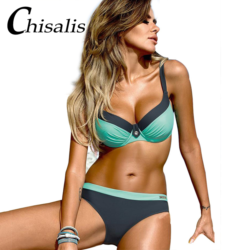 2018 Sexy Bikini Push Up Women Swimsuit Print Top biquini Brazilian bikinis Set Swim Bathing Suit Girl Beachwear Female Swimwear 2