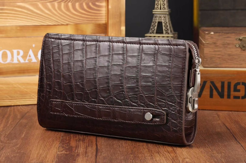 100% genuine alligator crocodile belly skin leather long size men clutch wallet purse with password code locker and hand holder, maibomengnuo authentic crocodile skin wallet belly belly fashionable contracted men thin money clip upright money
