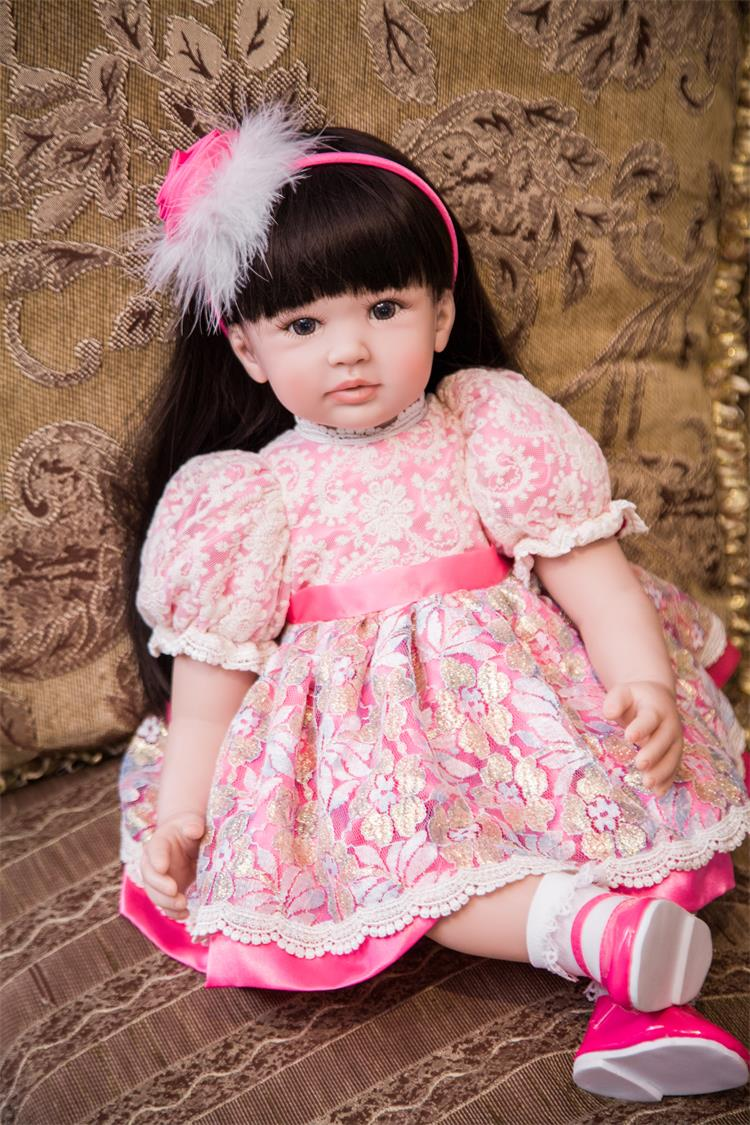 60cm Silicone Reborn Girl Baby Doll Toys 24inch Vinyl Exquisite Princess Toddler Babies Dolls Birthday Gift Lovely Xmas Present american doll 18 inch girl vinyl baby dolls smiling toys princess cute baby girl doll christmas or birthday gift for children