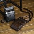 2017 New Genuine Leather  Cell Mobile Phone  Case Small Messenger Shoulder Cross Body Belt Bag Men Waist Hook Pack