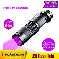 Professional Fluorescent Agent Detection UV 395nm Led Flashlight Torch Lamp Purple Violet Light Of AA Or14500