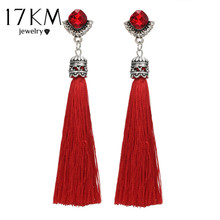 17KM 3 Color Boho Crystal Long Tassel Drop Earrings For Women Fashion Red Green Blue Silk Fabric Dangle Earring Ethnic Jewelry