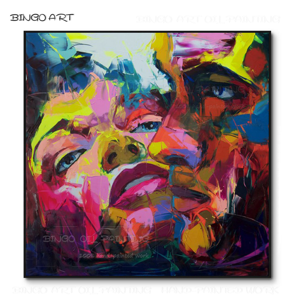 Excellent Artist Pure Hand-painted High Quality Wall Artwork Double Figures Oil Painting Beautiful Nielly Figure Knife