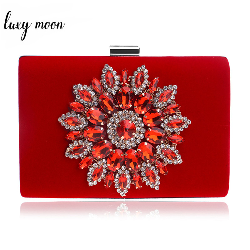 5259169a8d5 Luxy Moon Flower Rhinestones Women Handbags Red Black Evening Bag Chain  Shoulder Bags Metal Day ...