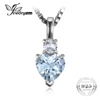JewelryPalace Heart Love 0 8ct Natural Aquamarine White Topaz Pendant 925 Sterling Silver Pendant Fine Jewelry