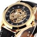 Nuevo 2017 moda sewor skeleton hombres militar negocios reloj auto de viento mecánico de pulsera del deporte de lujo del reloj de acero inoxidable