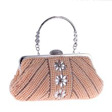 2018 New Fashion Pearl Beading Evening Clutch For Women Floral Female Handbag Metal Handle Crystal Hasp Handmade Party Bag Flap