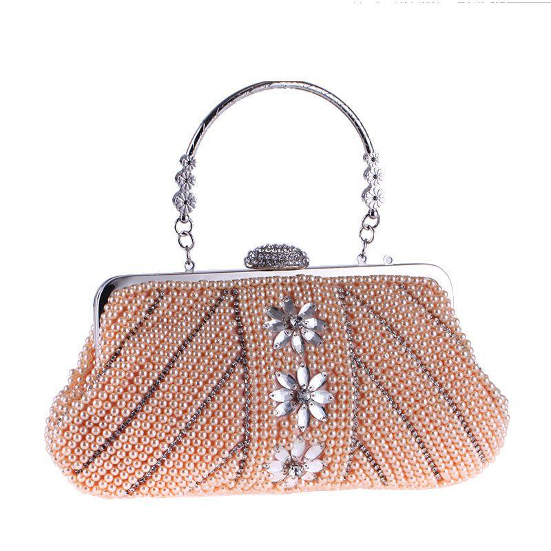 2018 nouvelle mode perle perles soirée embrayage pour femmes Floral femme sac à main en métal poignée cristal moraillon à la main partie sac rabat