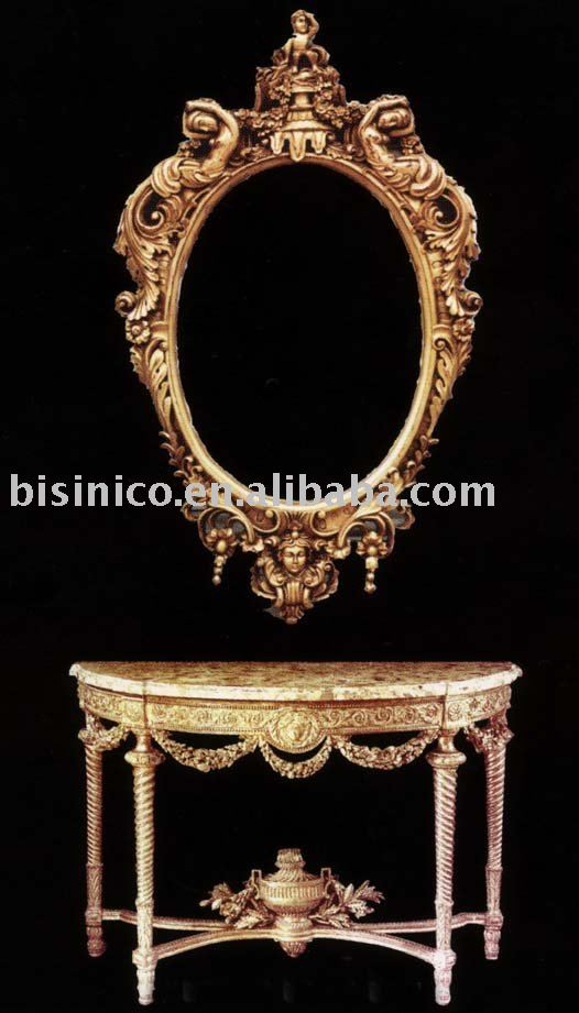 Western Style Console Table Set,mirror,European Furntiures With Gold Leaf