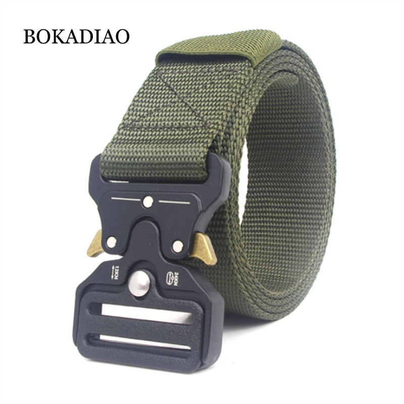BOKADIAO men women canvas   belt   Quick release Metal buckle military nylon Training   belt   long size Army tactical   belts   strap male