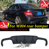 For Mercedes Benz c63 style w204 PP plastic rear bumper lip diffuser 2007 2014 C Class C180 C200 C280 C300 C350 c400 Rear bumper