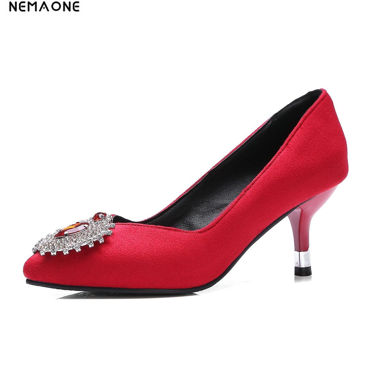 Nemaone Frauen Pumpen Kristall High Heels Schuhe 2019 Frühling Frauen Schuhe Mode Spitz High Heels Hochzeit Schuhe Schuhe