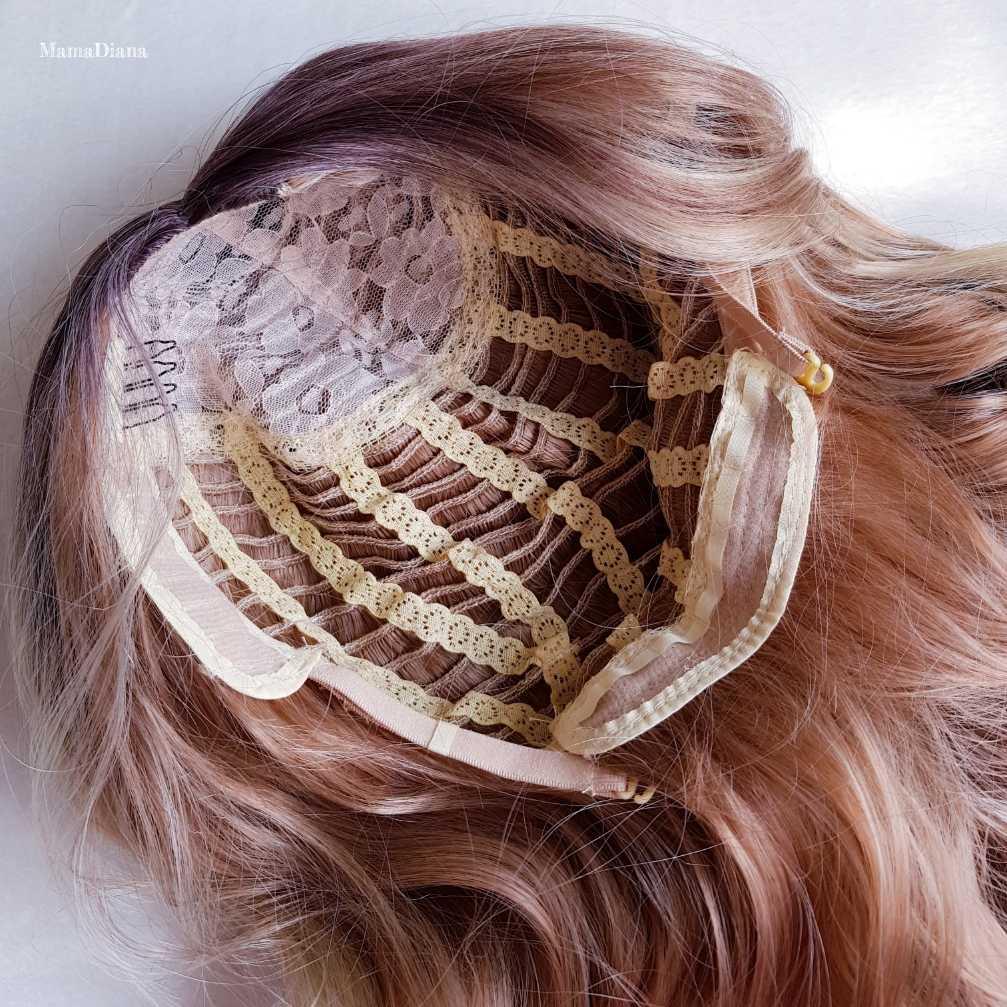Panjang Sintetis Wig Ombre Rambut Pirang 22 Inci Panjang Keriting Wig Keriting untuk Wanita Afrika Amerika Wig Pirang dengan Poni