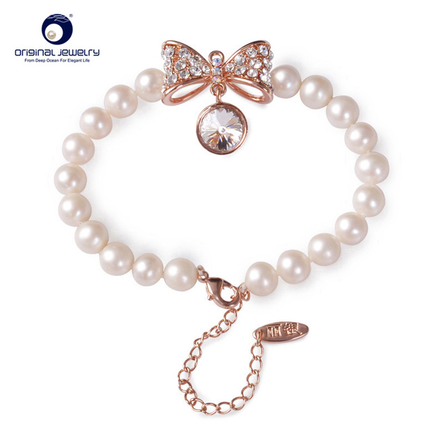 [YS] Fine Jewelry 6.5-7mm Genuine Natural Freshwater Cultured Pearl True Love Charm Bracelets Fashion Hand Ring Free Shipping