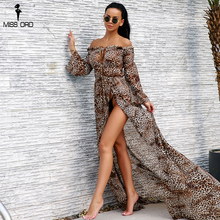 Missord 2018 сексуальная Slash шеи Динамик рукавами леопардовые платья женские Разделение Для женщин элегантные Макси Вечерние Платье Vestdios FT9336