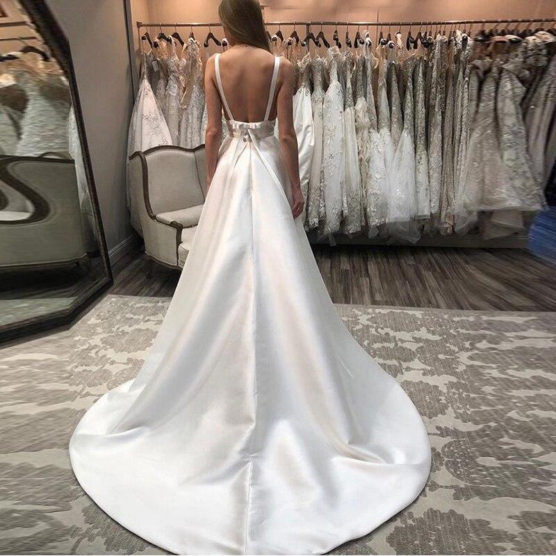Sexy Deep V-neck Wedding Dresses Spaghetti Straps Backless Elegant A-line Satin Chapel Train White Ivory Bridal Gowns