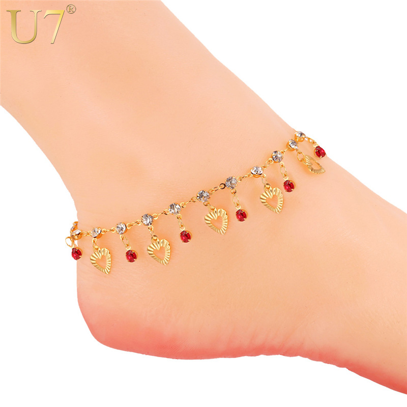 все цены на U7 Trendy Heart Anklet Summer Jewelry Gift Red Crystal Gold Color Ankle Foot Chain Bracelet For Women A301