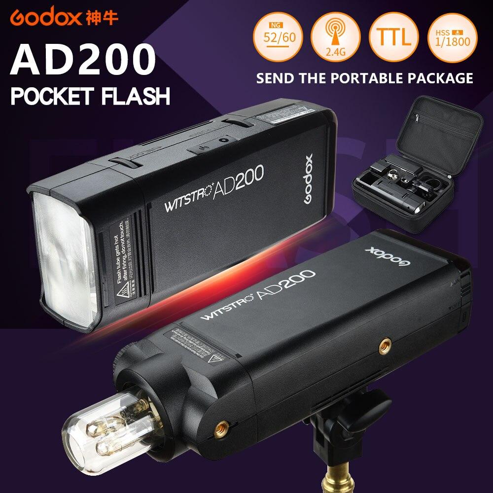 Godox ad200 bolso flash luz fotografia estroboscópio speedlite 200 w com ttl li-bateria para sony canon nikon câmera speedlight