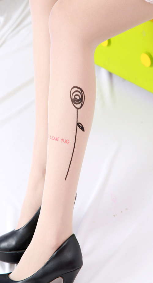 Sexy Women Fashion Japan Angel Animal Mock Knee High Tattoo Tights Pantyhose Pattern Printed Stockings S4