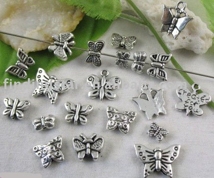 FREE SHIPPING 200PCS Mixed Tibetan silver butterfly charms M3651