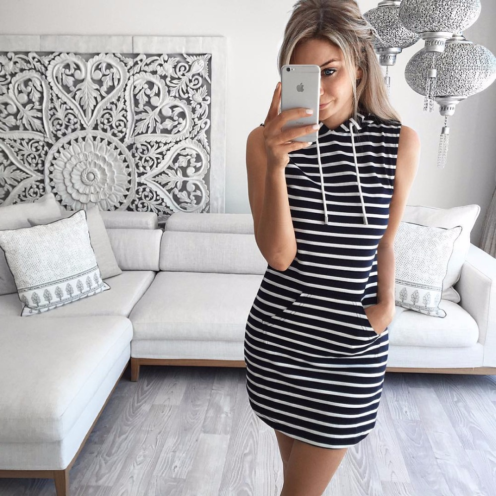 Black And White Outfits: Women Summer Dress 2016 Black Hoody Dress Black And White