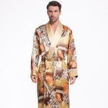 Новый Шелковый халат с поясом мужчины с длинными рукавами 100% шелковый халат пижамы халат Для мужчин шелковые кимоно Бесплатная доставка