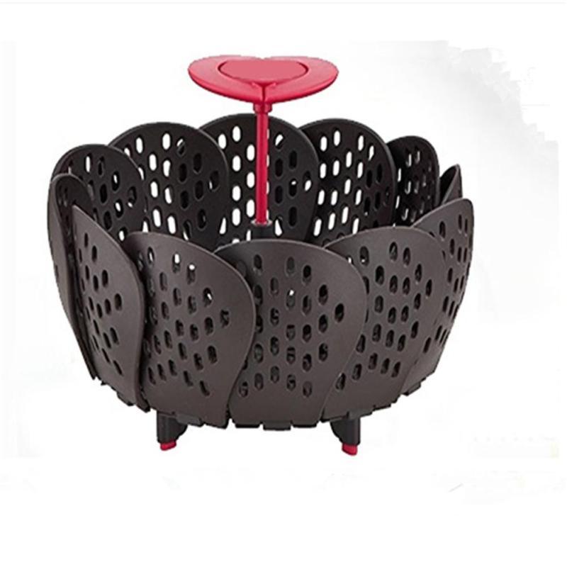 2017 Nuevo lotus tipo retráctil plegable cesta de fruta portátil vapor plegable cesta de verduras cesta de almacenamiento de A20