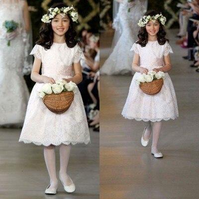 New Arrival Little   Girls   Pageant   Dress   A Line Lace Knee Length   Flower     Girls     Dress   for Weddings Vestidos Infantis ZY3113