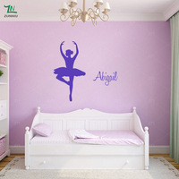 Personalised custom Name Ballerina Wall Stickers Ballet Dancer Girls Decals Murals Home Living room Decor