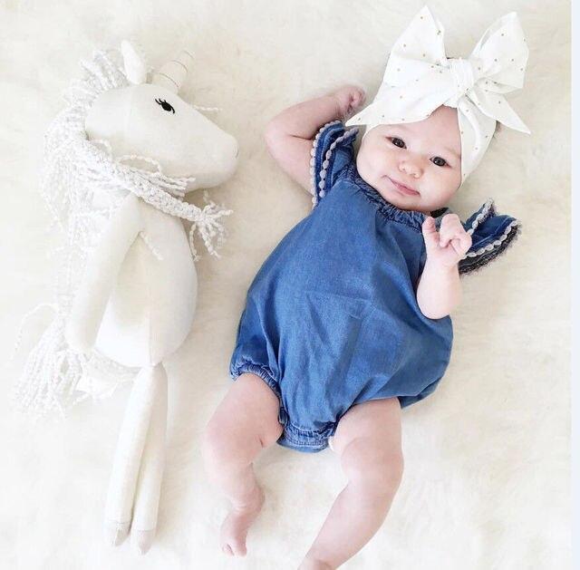 6d5f5b0026e 2017 Cute Newborn Baby Girl Lace Romper Clothes Infant Bebes Lace Jumpsuit  Denim Rompers Jumpsuit Sunsuit