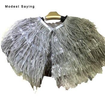 Real Elegant Grey Ostrich Feather Wedding Fur Boleros 2017 Bridal Jackets Cape shrug for evening dresses Wedding Accessories B61