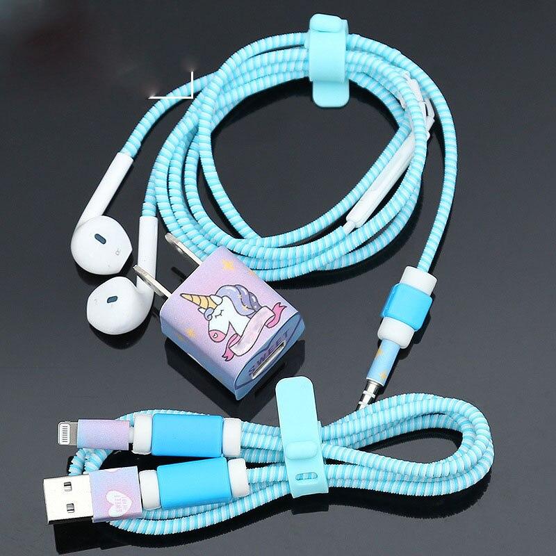 1.4 m TPU Spirale USB De Charge Câble Protecteur Set Écouteurs Cordon Protection Pour iphone 5 5s 6 7 8 Câble Enrouleur Fil Ligne protecive