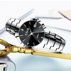 Image 4 - Civo 럭셔리 커플 시계 블랙 실버 전체 철강 방수 날짜 쿼츠 시계 남자 남자 여자 시계 연인 아내를위한 선물