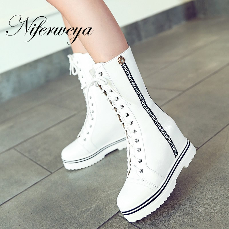 ФОТО Woman Lace-Up Mid-Calf boots big size 34-43 winter work women shoes Sexy Height Increasing Platform high heels zapatos mujer