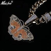 Missfox Big Butterfly Solid Pendant Necklace Men Zircon Tide Brand Big Buckle Necklace Hip Hop Top Quality Trendy Copper Metal