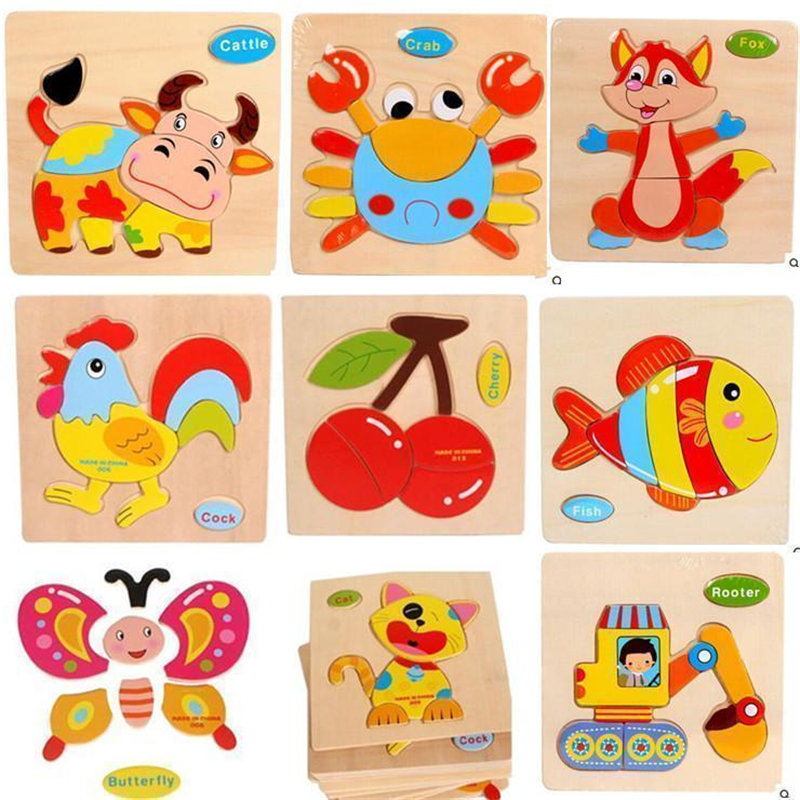 Baby Kids Cartoon Animal Wooden Learning Geometry Educational Toys Puzzle Children Early Learning 3D Shapes Creative Game Gift children s early childhood educational toys the bear change clothes play toys creative wooden jigsaw puzzle girls toys