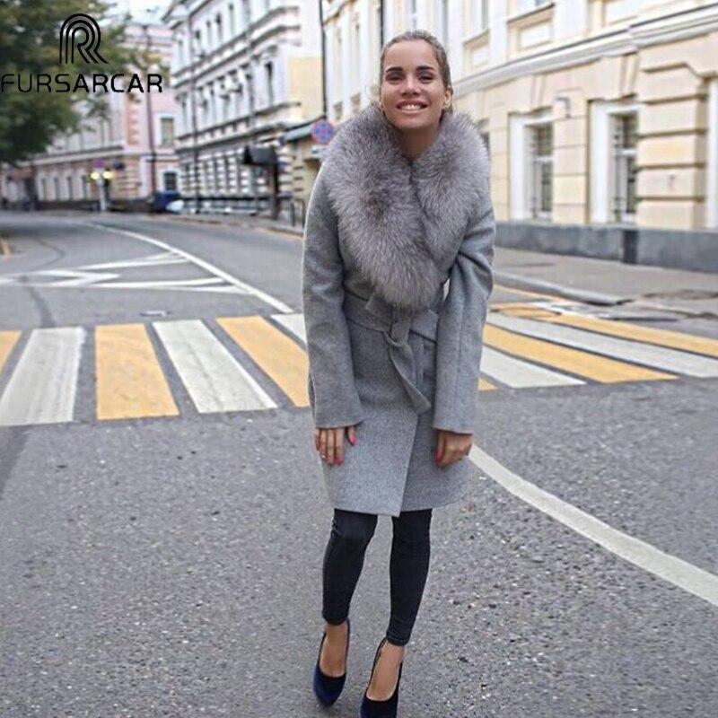 FURSARCAR Winter New Style Real Fur Coat Women Luxury Sheep Skin Warm Coat With Fox Fur Collar Top Quality Fashion Fur Coat
