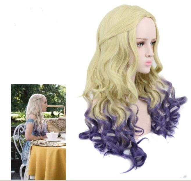 Потомки Эви Для женщин синий MAL Cospaly смешать синтетический парик волосы заплетены 24 длинные волнистые Косплэй парик Хэллоуин Искусственные...