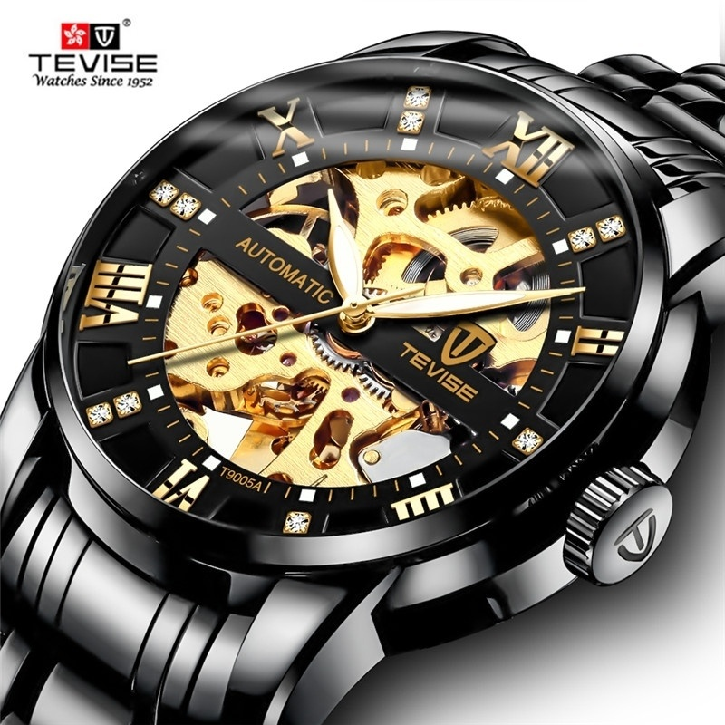 TEVISE Automatic Watches Mechanical-Wristwatch Skeleton Stainless-Steel Mens Luxury Brand title=