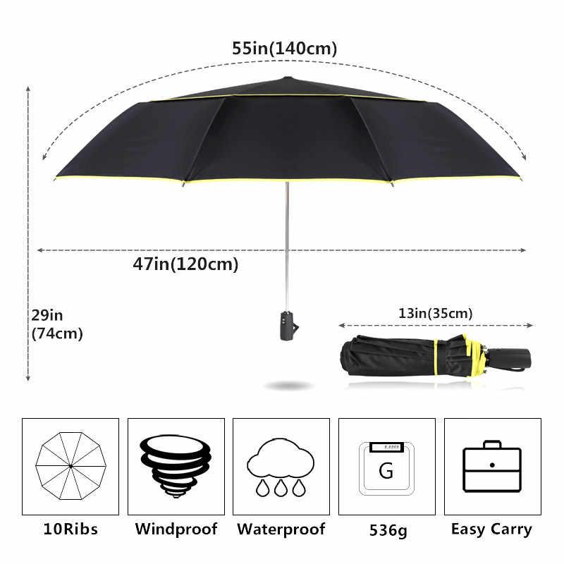 Большой Ветрозащитный Зонт 120 см, женский, двойной слой, 3 складной, качественный, крепкий зонт, портативный, для путешествий, цветной, для гольфа, мужской зонт