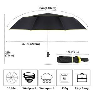 Image 2 - Big Windproof 120 ซม.ร่มฝนผู้หญิงคู่ชั้น 3 พับคุณภาพแข็งแรงร่มแบบพกพาที่มีสีสันผู้ชาย GOLF ร่ม