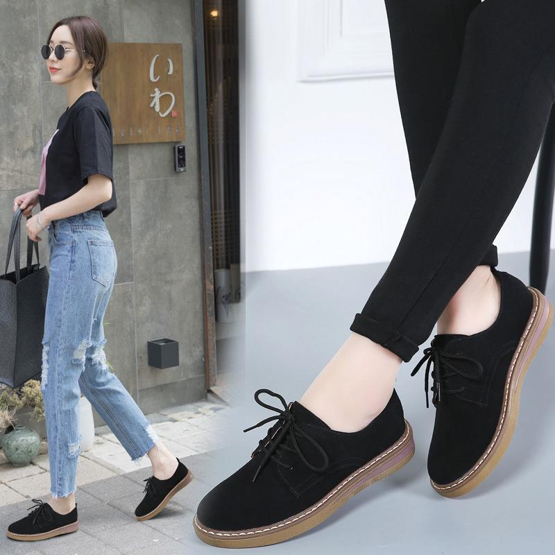 DAFENP women flats shoes woman sneakers   leather     suede   lace up boat shoes round toe flats moccasins oxford zapatos de mujer