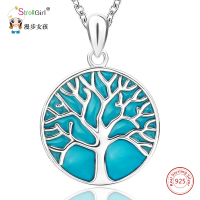 Glowing Tree Of Life Necklace Girl 925 Sterling Silver Chain Enamel Luminous Tree Pendants Necklaces For