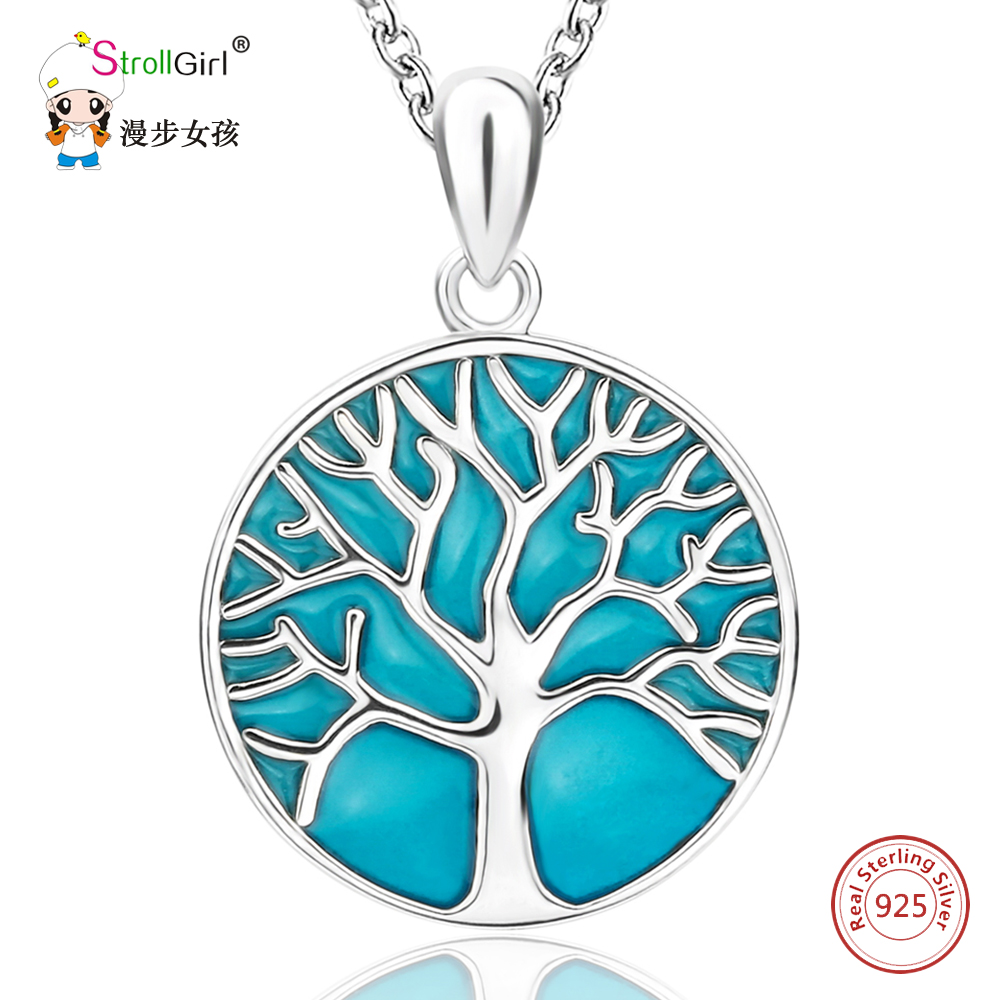 Glowing Tree of Life Necklace Girl 925 Sterling Silver Chain Enamel Luminous Tree Pendants & Necklaces for Women Fashion Jewelry