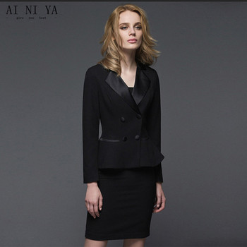 New Black Womens Business Work Suits Female Office Uniform Double Breasted Ladies Formal 2 Piece Suits Jacket+Skirt Custom