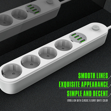 電源ストリップeuプラグ壁複数ソケットポータブル4出口4 usbポート携帯電話スマートフォン錠ネットワークフィルター