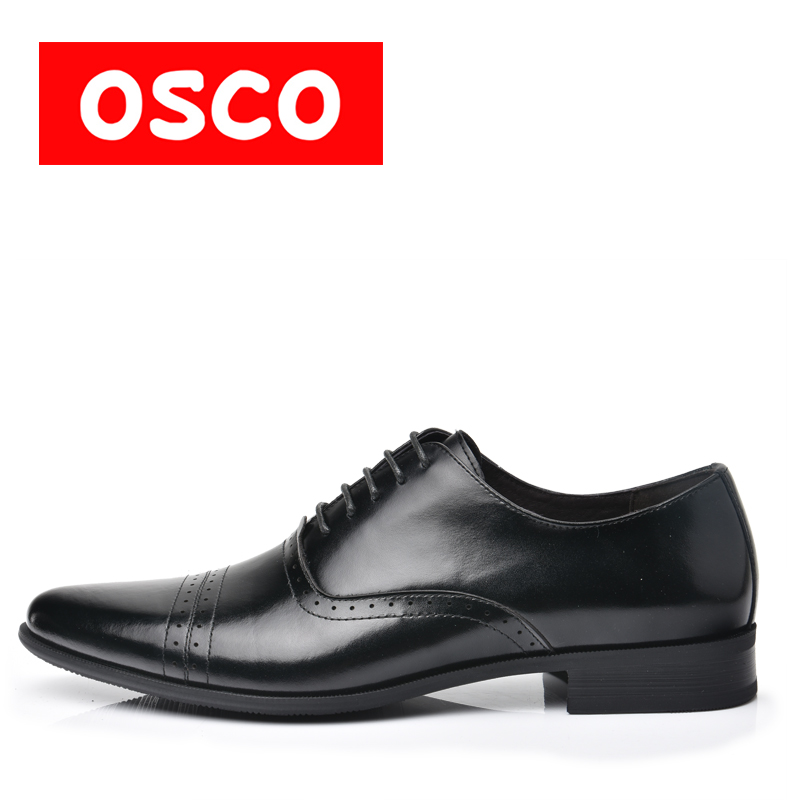 OSCO Factory direct Fashion Men Shoes Genuine Leather Men Dress Shoes Men's Business Oxford Gentleman Shoes Man #RU0002